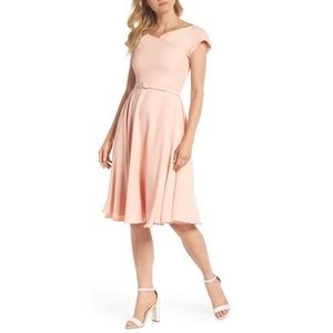 Gal Meets Glam Sally Belted Crepe Dress